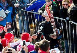 Jurij Tepes of Slovenia with fans during the Ski Flying Individual Qualification at Day 1 of FIS World Cup Ski Jumping Final, on March 19, 2015 in Planica, Slovenia. Photo by Vid Ponikvar / Sportida