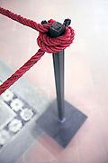 red museum rope protecting a floor