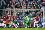 Bernard (Everton) scores to give Everton a 0-2 lead during the Premier League match between West Ham United and Everton at the London Stadium, London, England on 30 March 2019.