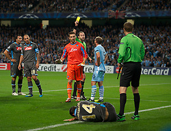 MANCHESTER, ENGLAND - Wednesday, September 14, 2011: Manchester City's Pablo Zabaleta is shown the yellow card during the UEFA Champions League Group A match at the City of Manchester Stadium. (Photo by Chris Brunskill/Propaganda)