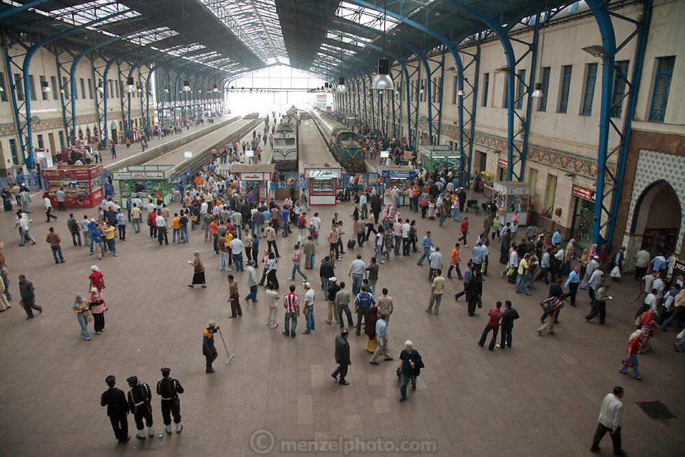 Travelers at the Cairo Train Station on Ramses Square in Cairo, Egypt.