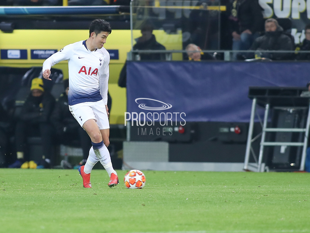 Son Hung-men of Tottenham Hotspur with the ball during  the Champions League round of 16, leg 2 of 2 match between Borussia Dortmund and Tottenham Hotspur at Signal Iduna Park, Dortmund, Germany on 5 March 2019.