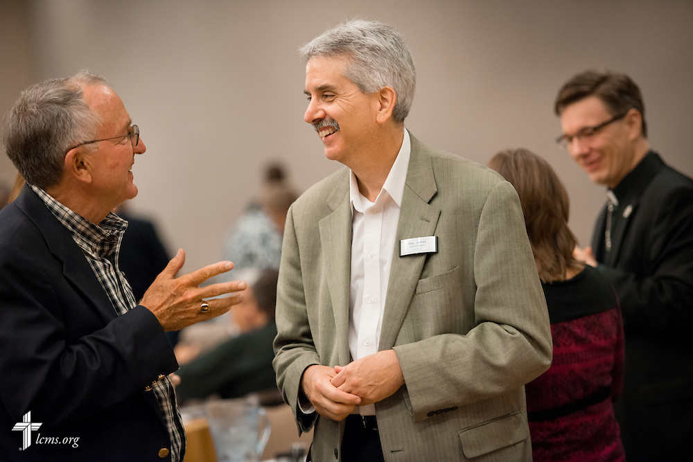 The Rev. James Douthwaite, pastor at Saint Athanasius Lutheran Church in Vienna, Va., chats with the Rev. Dr. Dean O. Wenthe, president of the Concordia University System, during break at the Let's Talk Life, Marriage and Religious Liberty event on Tuesday, September 8, 2015, in Washington, D.C. LCMS Communications/Erik M. Lunsford