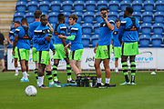 The FGR players take a drinks break during the warm up during the EFL Sky Bet League 2 match between Colchester United and Forest Green Rovers at the Weston Homes Community Stadium, Colchester, England on 26 August 2017. Photo by Shane Healey.