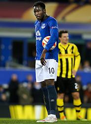 Everton's Romelu Lukaku grabs the ball before taking the penalty - Photo mandatory by-line: Matt McNulty/JMP - Mobile: 07966 386802 - 26/02/2015 - SPORT - Football - Liverpool - Goodison Park - Everton v Young Boys - UEFA EUROPA LEAGUE ROUND OF 32 SECOND LEG