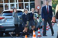 King Felipe VI of Spain, Queen Letizia of Spain, Crown Princess Leonor, Princess Sofia arrive at the 'Santa Maria de los Rosales' school on the first day of schoo on September 11, 2019 in Madrid, Spain