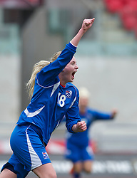LLANELLI, WALES - Thursday, March 31, 2011: Iceland's Berglind Bjorg Thorvaldsdottir celebrates scoring the first goal against Turkey during the UEFA European Women's Under-19 Championship Second Qualifying Round (Group 3) match at Parc Y Scarlets. (Photo by David Rawcliffe/Propaganda)
