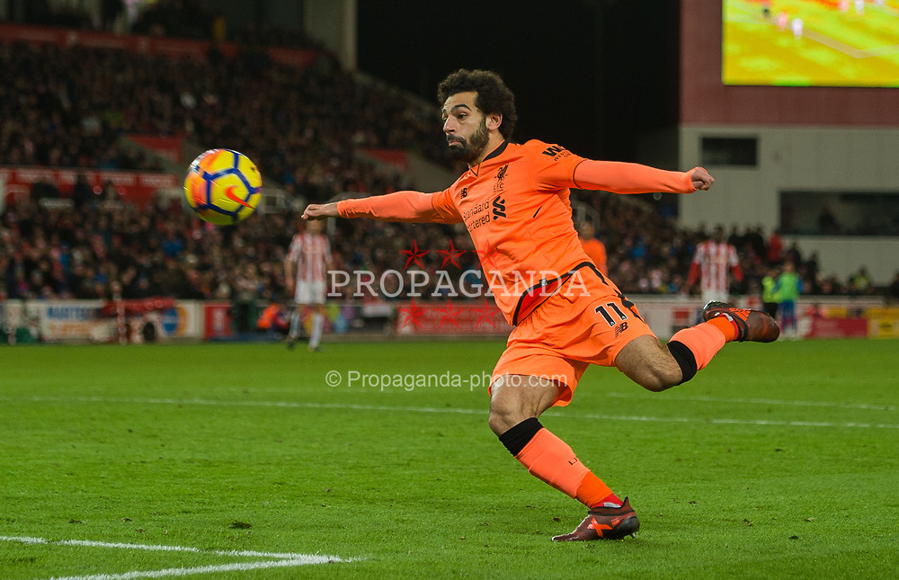STOKE-ON-TRENT, ENGLAND - Wednesday, November 29, 2017: Liverpool's Mohamed Salah scores the second goal making the score 2-0 during the FA Premier League match between Stoke City and Liverpool at the Bet365 Stadium. (Pic by Peter Powell/Propaganda)