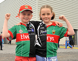 Divided Loyalties...Ronan and Cliona McCormack from Ballisodare Sligo with their Mayo Sligo split shirts at the Connacht Final in Dr. Hyde Park.<br /> Pic Conor McKeown