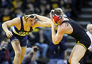 January 29, 2010: Penn State's Dan Vallimont and Iowa's Ryan Morningstar in the 165-pound bout at Carver-Hawkeye Arena in Iowa City, Iowa on January 29, 2010. Morningstar won the match 2-0 and Iowa defeated Penn State 29-6.