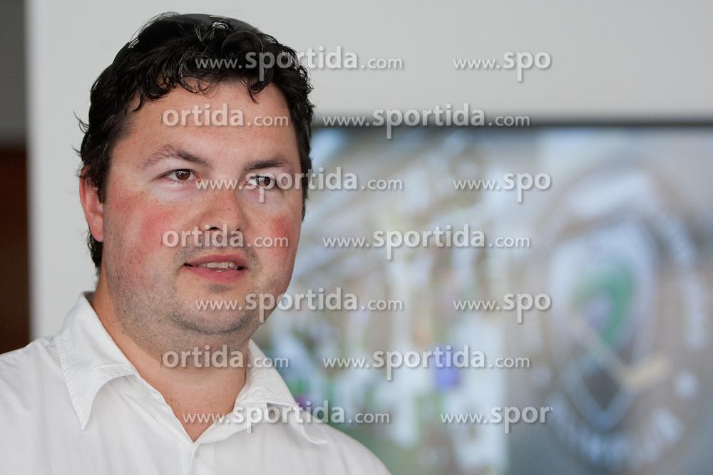 Robert Verlic at HDD UPC Telemach Olimpija Press Conference about new main sponsor UPC Telemach as main sponsor of HDD Olimpija, on June 20, 2012 at UPC Telemach, Ljubljana, Slovenia. (Photo By Matic Klansek Velej / Sportida)