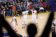 Golden State Warriors forward Draymond Green (23) high fives forward Kevin Durant (35) after a dunk against the LA Clippers at Oracle Arena in Oakland, Calif., on January 28, 2017. (Stan Olszewski/Special to S.F. Examiner)