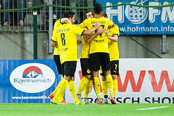 Players of Borussia Dortmund celebrate after scoring first goal during football match between WAC Wolfsberg (AUT) and  Borussia Dortmund (GER) in First leg of Third qualifying round of UEFA Europa League 2015/16, on July 30, 2015 in Wörthersee Stadion, Klagenfurt, Austria. Photo by Vid Ponikvar / Sportida