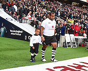 Fijian Sunia Koto comes on the first first celebrating 50 caps during the Autumn International Series match between England and Fiji at Twickenham, Richmond, United Kingdom on 19 November 2016. Photo by Ian  Muir.