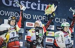 08.01.2019, Bucheben Piste, Bad Gastein, AUT, FIS Weltcup Snowboard, Parallelslalom, Damen, Siegerehrung, im Bild 2. Platz Krol Aleksandra (POL), Siegerin Riegler Claudia (AUT), 3. Platz Schoeffmann Sabine (AUT) // 2nd placed Krol Aleksandra of Poland Winner Riegler Claudia of Austria 3rd placed Schoeffmann Sabine of Austria during the winner Ceremony for the women's parallel Slalom of the FIS Snowboard Worldcup at the Bucheben Piste in Bad Gastein, Austria on 2019/01/08. EXPA Pictures © 2019, PhotoCredit: EXPA/ JFK