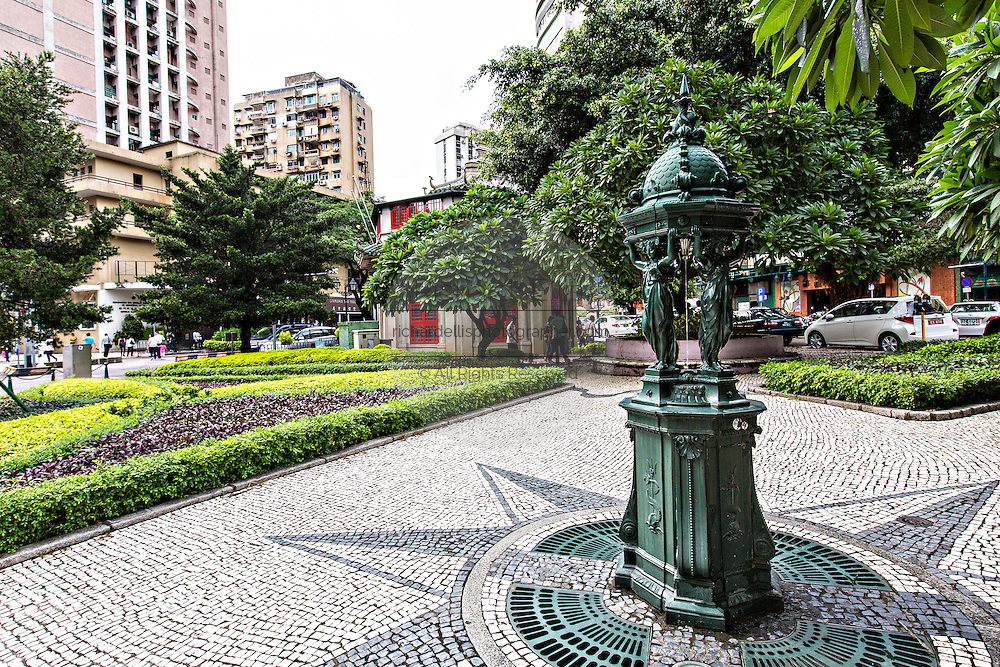 Wallace Fountain in the Jardim do Sao Francisco or Sao Francisco Garden in Macau.