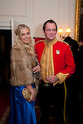 CAMILLA DE NORMAN; CAPT. BENJAMIN MCNEIL, Charity Dinner in aid of Caring for Courage The Royal Scots Dragoon Guards Afganistan Welfare Appeal. In the presence of the Duke of Kent. The Royal Hospital, Chaelsea. London. 20 October 2011. <br /> <br />  , -DO NOT ARCHIVE-© Copyright Photograph by Dafydd Jones. 248 Clapham Rd. London SW9 0PZ. Tel 0207 820 0771. www.dafjones.com.