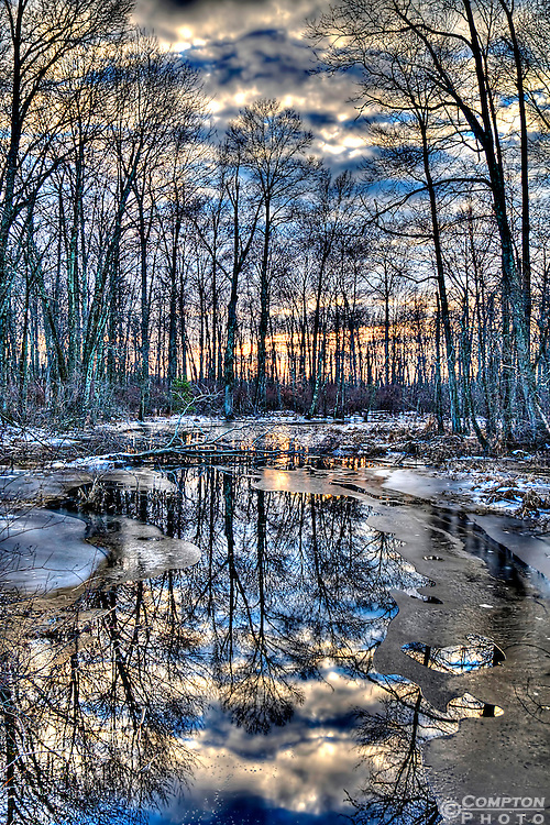 Winter sunset in the Great Swamp National wildlife refuge