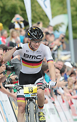 01.06.2014, Bullentaele, Albstadt, GER, UCI Mountain Bike World Cup, Cross Country Herren, im Bild Moritz Milatz Deutschland // during Mens Cross Country Race of UCI Mountainbike Worldcup at the Bullentaele in Albstadt, Germany on 2014/06/01. EXPA Pictures © 2014, PhotoCredit: EXPA/ Eibner-Pressefoto/ Langer<br /> <br /> *****ATTENTION - OUT of GER*****