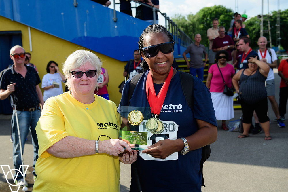 Metro Blind Sport's 2017 Athletics Open held at Mile End Stadium.  Medal presentations.  Camille Elliot-Kamara<br /> <br /> Picture: Chris Vaughan Photography for Metro Blind Sport<br /> Date: June 17, 2017