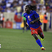 Leonel Saint-Preux, Haiti, in action during the Haiti V Honduras CONCACAF Gold Cup group B football match at Red Bull Arena, Harrison, New Jersey. USA. 8th July 2013. Photo Tim Clayton