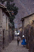 PERU: Ollantaytambo.The walls and foundations of all buildings in this atmospheric town date back to Inca times.