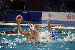 July 24, 2018 - Barcelona, Spain - Alberto Munarriz (Spain) and Angelos Vlachopoulos (Greece) during the match between Spain and Greece, corresponding to the women group stage of the European Water Polo Championship, on 19th July, 2018, in Barcelona, Spain. (Credit Image: © Joan Valls/NurPhoto via ZUMA Press)