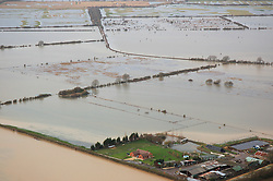 © Licensed to London News Pictures. 09/01/2014. Oxford, UK. Flooded Otmoor Farm. Flooding in Oxford today 9th January 2014. Persistent rainfall across the UK, including in Oxford, has led to rising water levels on rivers. Photo credit : Air Experiences/LNP
