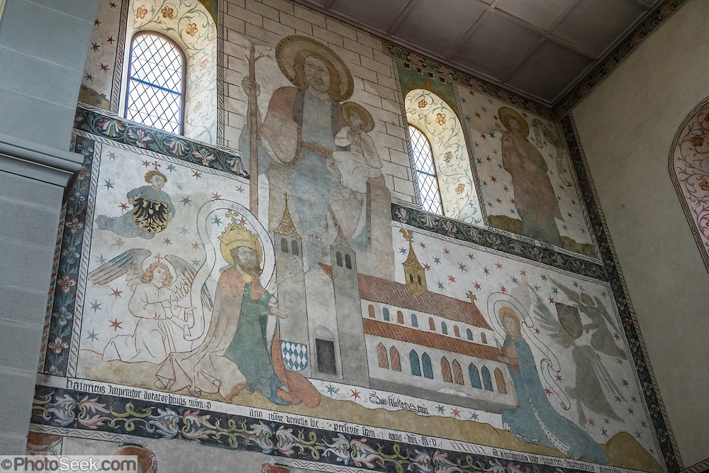 Fresco artwork inside the Stadtkirche (City Church) in Stein am Rhein village, in Schaffhausen Canton, Switzerland, Europe.