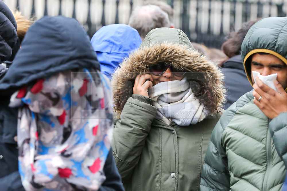 © Licensed to London News Pictures. 27/04/2019. London, UK. Women wrapped in on a cold and windy day in London. Photo credit: Dinendra Haria/LNP