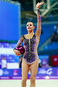 Ashram Linoy from Israel during the final of the ball won the silver medal. She is known for her and very high jumps. Her targhet is to win Israel's first Olympic rhythmic gymnastics medal at the 2020 Olympic Games in Tokyo.