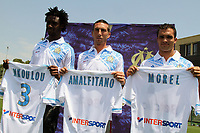 FOOTBALL - MISCS - FRENCH CHAMPIONSHIP 2011/2012 - LIGUE 1 -OLYMPIQUE MARSEILLE - 29/06/2011 - PHOTO PHILIPPE LAURENSON / DPPI - PRESENTATION MARSEILLE'S NEWS PLAYERS NICOLAS N'KOULOU / MORGAN AMALFITANO / JEREMY MOREL