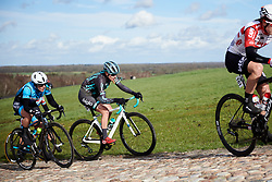 Maria Vittoria Sperotto (ITA) gets blown of the road on the VAMberg cobbles at Drentse 8 van Westerveld 2019, a 145 km road race starting and finishing in Dwingeloo, Netherlands on March 15, 2019. Photo by Sean Robinson/velofocus.com