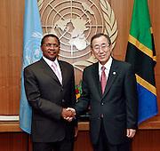 Secretary-General Ban Ki-moon (right) meets with Jakaya Mrisho Kikwete, President of the United Republic of Tanzania.