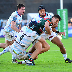 Matt Toomua of Leicester is held up by Bernard Le Roux of Racing 92(4) and Anthony Tuitavake of Racing 92 during the European Rugby Champions Cup match between Racing 92 and Leicester Tigers on October 14, 2017 in Colombes, France. (Photo by Dave Winter/Icon Sport)