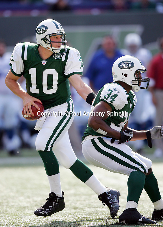 EAST RUTHERFORD, NJ - OCTOBER 1:  Quarterback Chad Pennington #10 of the New York Jets fakes a handoff while dropping back to pass against the Indianapolis Colts at the Meadowlands on October 1, 2006 in East Rutherford, New Jersey. The Colts defeated the Jets 31-28. ©Paul Anthony Spinelli *** Local Caption *** Chad Pennington