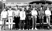 6 April 2009: File picture from the 1970's of actors and crew from Hull Truck Theatre which was founded in 1971 and originally performed from the back of a truck (pictured), hence the name. Today  playwright John Godber opened a new 440 seater auditorium in Hull. The £15m theatre opens to the public on 23 April, Shakespeare's birthday.<br /> Picture:Sean Spencer/Hull News & Pictures 01482 210267/07976 433960<br /> High resolution picture library at http://www.hullnews.co.uk<br /> ©Sean Spencer/Hull News & Pictures Ltd
