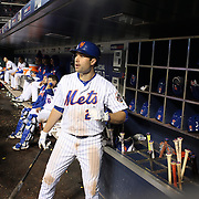 NEW YORK, NEW YORK - APRIL 27:  Neil Walker #20 of the New York Mets preparing to bat in the dugout during the New York Mets Vs Cincinnati Reds MLB regular season game at Citi Field on April 27, 2016 in New York City. (Photo by Tim Clayton/Corbis via Getty Images)