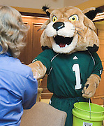 Bobcat Rufus and Engineering Dean Dennis Irwin visits people  in Stocker Hall on Friday, 11/3/06.