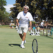 Lorne Main, Canada,  in action in the 75 Mens Doubles during the 2009 ITF Super-Seniors World Team and Individual Championships at Perth, Western Australia, between 2-15th November, 2009.