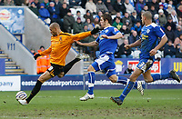 Photo: Steve Bond/Richard Lane Photography. <br />Leicester City v Hull City. Coca Cola Championship. 21/03/2008. Caleb Folan (L) lines up to fire home goal no2