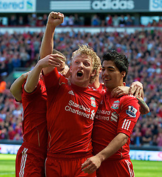01.05.2011, Anfield, Liverpool, ENG, PL, Liverpool FC vs Newcastle United FC, im Bild Liverpool's Luis Alberto Suarez Diaz celebrates scoring his side's third goal against Newcastle United with team-mate Dirk Kuyt during the Premiership match at Anfield, EXPA Pictures © 2011, PhotoCredit: EXPA/ Propaganda/ *** ATTENTION *** UK OUT!