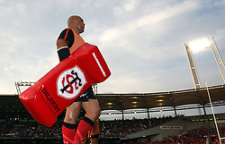 Gurthrö Steenkamp of Stade Toulousain warms up before the game. Toulouse v Castres, Top 14, Demi-Finale, Stade Municipal, Toulouse, France, June 2nd 2012