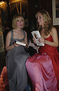 Anouskha Beckwith and Charlotte Noble, Cartier, Alexander McQueen and Viking hold a party  for Plum Sykes's book Bergdorf Blondes, Annabel's. 4 May 2004. SUPPLIED FOR ONE-TIME USE ONLY> DO NOT ARCHIVE. © Copyright Photograph by Dafydd Jones 66 Stockwell Park Rd. London SW9 0DA Tel 020 7733 0108 www.dafjones.com