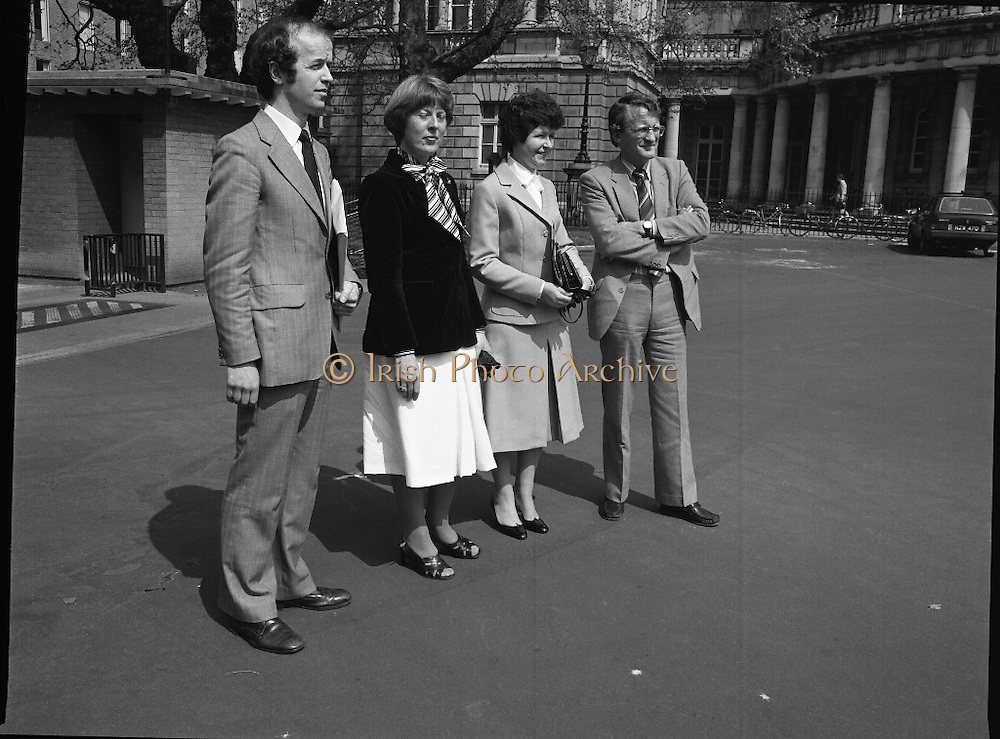 Pro-life Amendment Deputation.    (N75)..1981..12.05.1981..05.12.1981..<br /> 12th May 1981..A deputation from the Pro-life Amendment Campaign arrived at Leinster House,Dublin to meet with the leader of the Labour Party,Mr Frank Cluskey TD. they were there to put forward their views on the forthcoming referendum...Picture shows the group arriving at Dáil Éireann, Leinster House, Dublin. (L-R), Mr Denis Barror, Miss Loretto Browne, Dr Julia Vaughan, Chairperson, Pro-life Anendment Campaign and Prof David Jenkins, U.C.C.