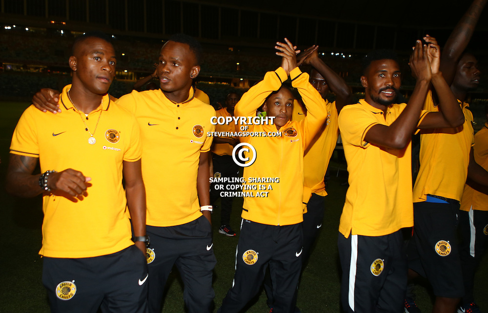 DURBAN, SOUTH AFRICA, February 28 2016 -  Kaizer Chiefs players GV from the no show of  Volcan de Moroni  during the CAF Champions League match between Kaizer Chiefs and Volcan de Moroni at the Moses Mabhida Stadium in Durban, South Africa. (Photo by Steve Haag)<br /> <br /> Images for social media must have consent from Steve Haag
