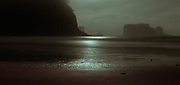 Moonlight glints off the tide flats between Sea Stacks at La Push
