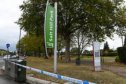 © Licensed to London News Pictures. 22/09/2019. SLOUGH, UK.  Police cordon tape surrounds Salt Hill Park in Slough, Berkshire, where it is reported a 15 year old boy was fatally stabbed after an altercation with another male.  Emergency services attended the scene at 6.30pm on the evening of 21 September where the boy was pronounced dead.  Investigations are ongoing.  Photo credit: Stephen Chung/LNP