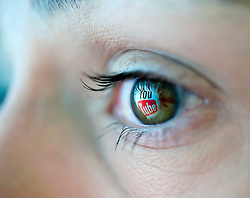 Reflection from Youtube video website reflected in woman's eye