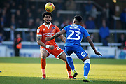 Shrewsbury Town midfielder Josh Laurent (28) heads the ball in front of Peterborough Utd defender Tyler Denton (23) during the EFL Sky Bet League 1 match between Peterborough United and Shrewsbury Town at London Road, Peterborough, England on 23 February 2019.